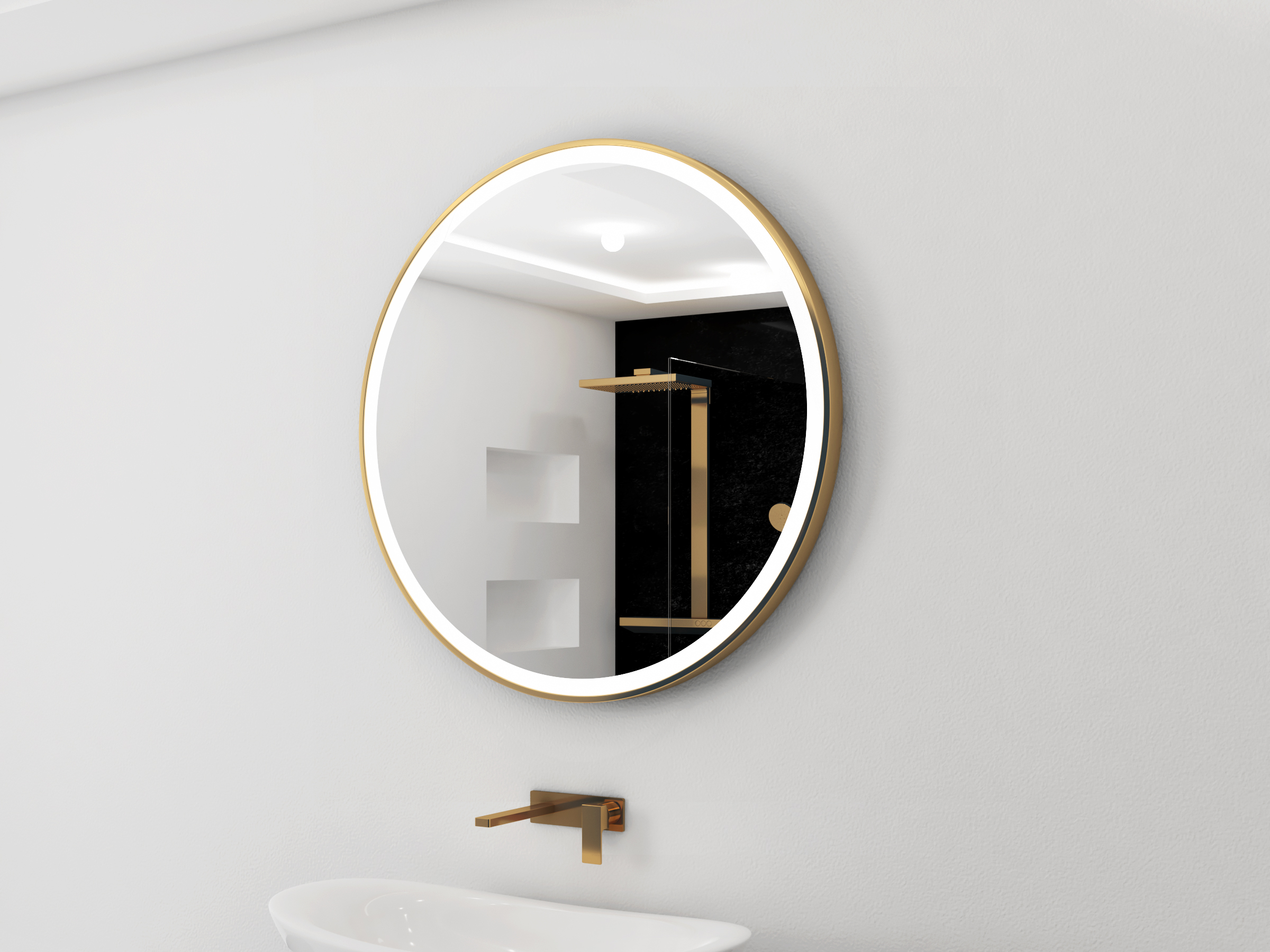 gold lighted mirror round galaxy 40 x 40. Black Bedroom Furniture Sets. Home Design Ideas